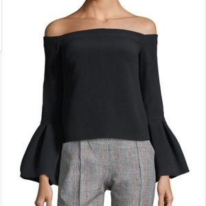Alexis TESS off shoulder crepe bell cuffs top